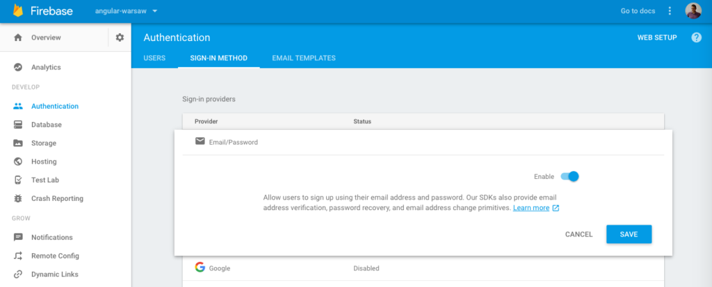 Firebase: enabling email/password authentication